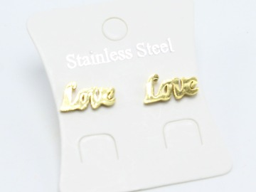 Liquidation/Wholesale Lot: Dozen Gold Stainless Steel LOVE Stud Earrings E1354G