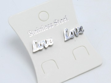 Liquidation/Wholesale Lot: Dozen Silver Stainless Steel LOVE Stud Earrings E1354S