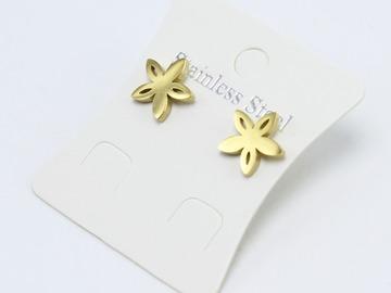 Liquidation/Wholesale Lot: Dozen Gold Stainless Steel Flower Stud Earrings E1369