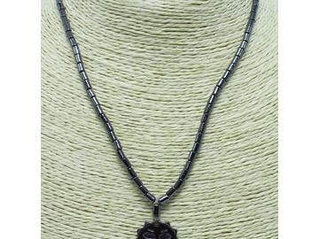 Liquidation/Wholesale Lot: Dozen New Hematite Sun Face Necklaces N2753