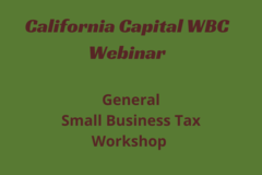 Announcement: General Small Business Tax Workshop