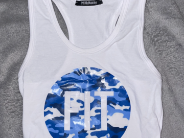 Selling A Singular Item: Carly's College Collection FIT Camo Logo Cropped Tank