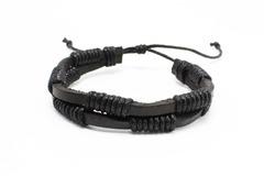 Liquidation/Wholesale Lot: Dozen Mens Faux Leather Bracelets B2062