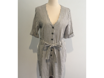 Selling: Grey/White Linen Shorts Jumpsuit.
