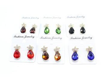 Liquidation/Wholesale Lot: Dozen New Rhinestone Star Teardrop Post Earrings MC35161