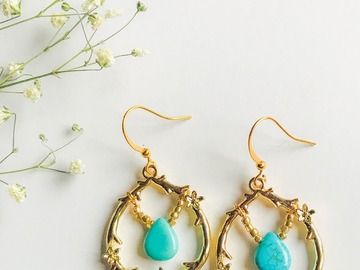 Selling: Gold Hoops with Turquoise Teardrops - Dangle Earrings