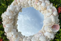 Selling with online payment: Pink and White Shell Mirror
