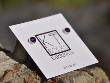 Selling with online payment: Amethyst Sterling Silver Stud Earrings