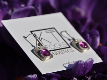 Selling with online payment: Pink Sapphire Sterling Silver Earrings