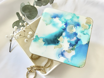 : Blue Sparkles - mirror jewellery box