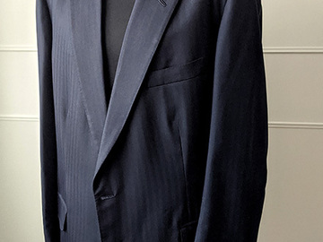 """Selling with online payment: Henry Poole & Co Savile Row Navy Herringbone Bespoke suit 44-46"""""""