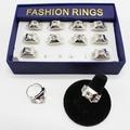 Liquidation/Wholesale Lot: Dozen Silver Rhinestone Adjustable Rings in Display Box #R2010