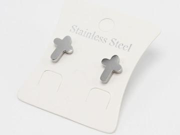 Liquidation/Wholesale Lot: Dozen Silver Stainless Steel Cross Stud Earrings E1366