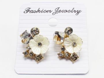 Liquidation/Wholesale Lot: Dozen New Rhinestone Flower Post Earrings MC35153-12