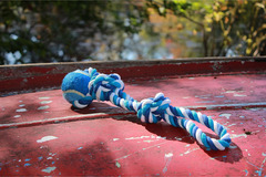 Liquidation/Wholesale Lot: Katikidio Pets Dog Toy, Blue & White 2 Knot, Cotton Rope With Bal