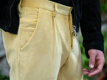 Online payment: Claudio Mariani Butter Yellow Velvet Pants W28/29 - IT 44 - FR 38