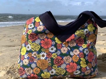 : Sac Yvonne happy flowers and sparkling blue denim