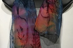 Selling with online payment: Hand Dyed Silk and Rayon Scarf 8x54