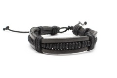 Liquidation/Wholesale Lot: Dozen Mens Faux Leather Bracelets B2068