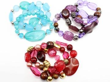 Liquidation/Wholesale Lot: 24 New Stretch Bracelet Sets (72 bracelets total)