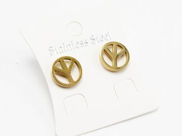 Liquidation/Wholesale Lot: Dozen Gold Stainless Steel Peace Sign Stud Earrings E1360