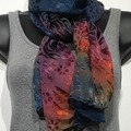 Selling with online payment: Hand Dyed Silk and Rayon Scarf  15x60