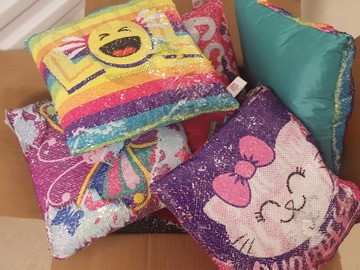 Liquidation/Wholesale Lot: Novelty Sequence Plush Pillows Assorted Styles 6 pcs