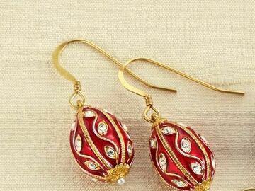 Liquidation/Wholesale Lot: Fabergé Egg Earrings, Red