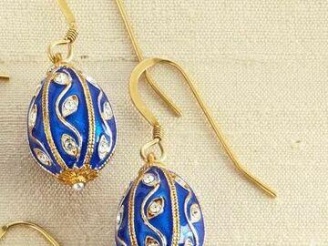 Liquidation/Wholesale Lot: Fabergé Egg Earrings, Blue
