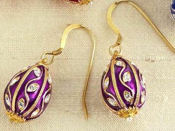 Liquidation/Wholesale Lot: Fabergé Egg Earrings, Purple