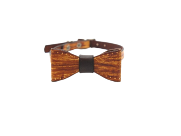 Selling: Woodgrain Mini Dog Collar & Bow