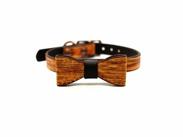 Selling: Woodgrain Small Dog Collar & Bow