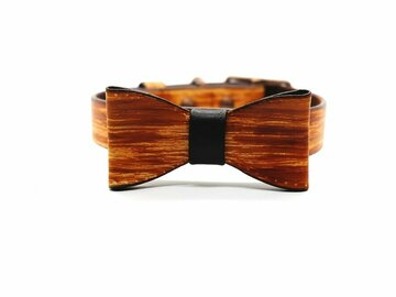 Selling: Large Woodgrain Dog Collar & Bow