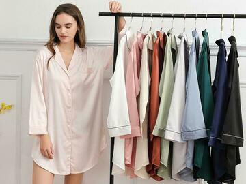 For Sale: Oversize Matte Satin Sleep Shirt, Nighty Nightwear Dress