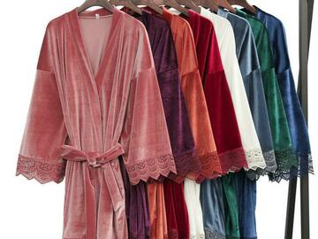 For Sale: Luxury Velvet Robe with Lace, Dressing Gowns, Bath Robe, Bridal