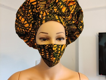 For Sale: African Print Ankara Satin Reversible Bonnet Natural Hair Care wi