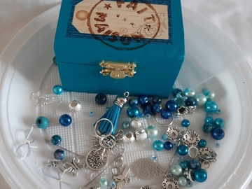 Vente au détail: Coffret diy bijoux bleu