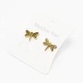 Liquidation/Wholesale Lot: Dozen Gold Stainless Steel Dragonfly Stud Earrings E1363