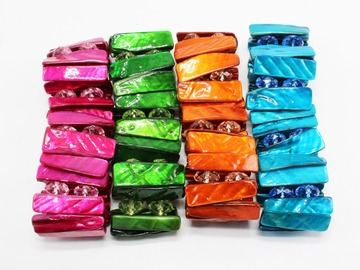 Liquidation/Wholesale Lot: 24 New Colorful Shell Stretch Bracelets High Quality