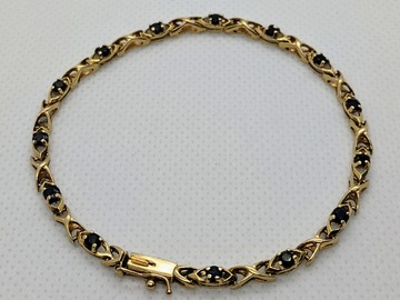 "Other Item: (SOLD) 14K Real Solid Yellow Gold Blue Sapphire Bracelet 7.5""/6g"