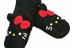 Liquidation/Wholesale Lot: Delux Knitwits Kids Hello Kitty Mittens Black- lot of 20