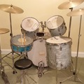 VIP Members' Sales Only: 1980s Ludwig sky blue pearl 4 pc w cymbals, hardware, cases