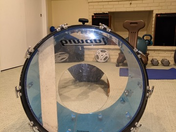 "Selling with online payment: Pre1980's Ludwig 22"" Classic Blue Vistalite Base Drum Blue & Oliv"