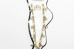 Liquidation/Wholesale Lot: Dozen New Rhinestone Anklet & Toe Ring Sets A115