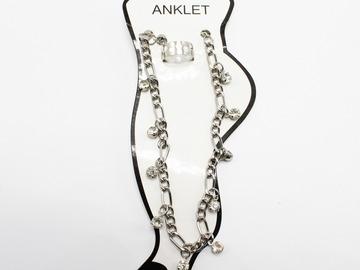 Liquidation/Wholesale Lot: Dozen New Rhinestone Anklet & Toe Ring Sets A100