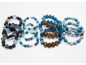 Liquidation/Wholesale Lot: 48 New Blue Mixed Media Stretch Bracelets B2013