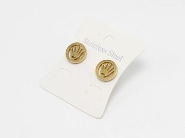 Liquidation/Wholesale Lot: Dozen Gold Stainless Steel Crown Stud Earrings E1370G