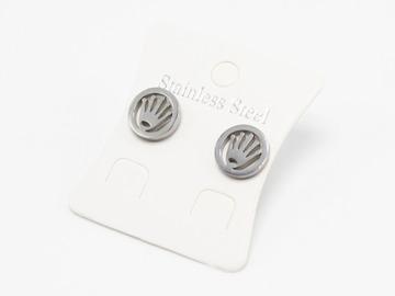 Liquidation/Wholesale Lot: Dozen Silver Stainless Steel Crown Stud Earrings E1370S
