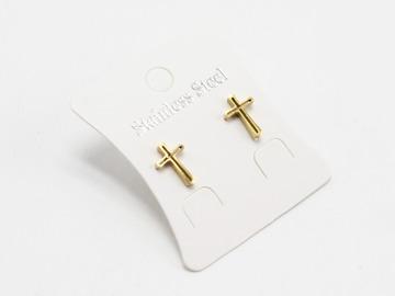 Liquidation/Wholesale Lot: Dozen Gold Stainless Steel Cross Stud Earrings E1357