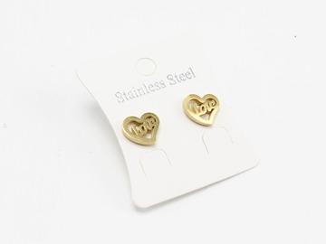 Liquidation/Wholesale Lot: Dozen Gold Stainless Steel Heart Stud Earrings E1358